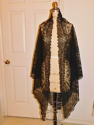 Antique Victorian Handmade Black Chantilly Bobbin Lace Scarf - Shawl