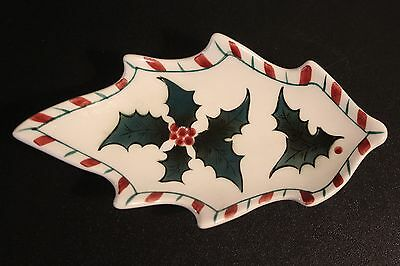 Vintage Lefton Holly Candy Cane Leaf Shaped Dish #1293