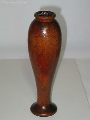 Slender Pokerwork Vase with Floral Sprays