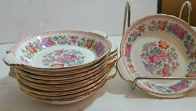 10 Royal Grafton Regency Gold and Floral Bone China Handled Sauces Coasters