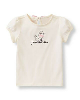 Janie and Jack T-shirt with Poodle Applique for Baby Girl, Size 12-18 Months