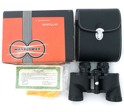 Vintage 1954 Mayflower Binoculars 7x35 Case Box Colonial Optical Co 115 Japan