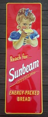 Gorgeous SUNBEAM BREAD 42 Tall x 14 Wide Embossed Enamel Sign Shimmering Colors