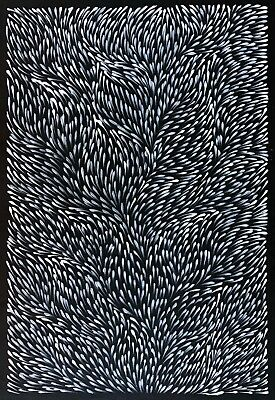 GLORIA PETYARRE, Highly Colectable Aboriginal Art.  White on a black background