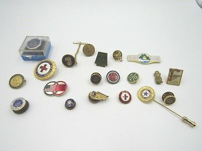 Collectible Vintage Pins Lot of 23 Fraternal Military Insurance Travel Medical