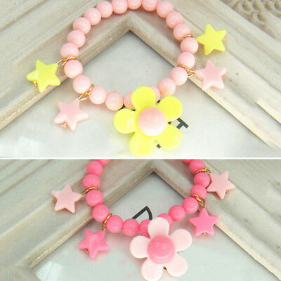 Cute Beads Flowers Bangle Lovely Candy Color Girls Baby 2016 Kids Stylish