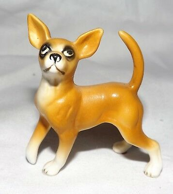Vintage Miniature SHIKEN Chihuahua  Dog Bone China Figurine with Label