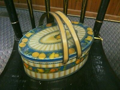 Vintage Oval Tin with Handles Colorful Fruit/  Decor