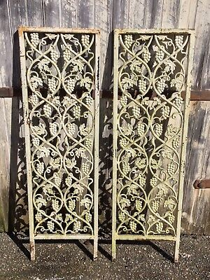 Pair VTG Cast Iron Metal Architectural Salvage Ornate Arbor Garden Panel Pieces