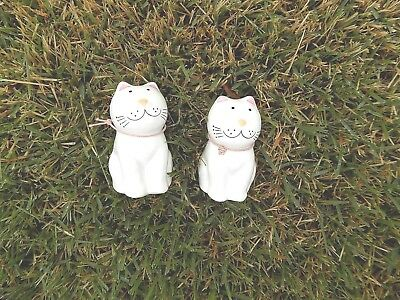Tabby Cats Salt & Pepper Shaker Set Glazed Porcelain White Pink Brazil Made EUC