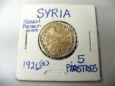 French Protectorate SYRIA 1926(a) 5 Piastres (a)=Paris Mint Low- Mintage 300,000