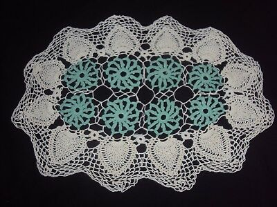 Crochet  Doily  - Hand Made -  White & Turquoise Oval - 50Cm X 35Cm - Unused