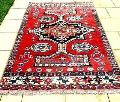 Vintage Persian Floor Rug -Hand Knotted, Pure Wool ,fabulous Colours & Design