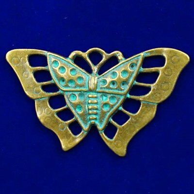 Carved Bronze Brass Butterfly Pendant Bead 57x35x3mm X16007