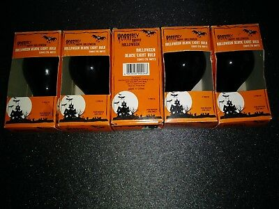 5 Halloween Party Black-Light-Bulbs New in Box by Horribly