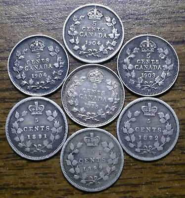 Seven Canada Silver Nickels; Various Dates, One1903H: You Grade