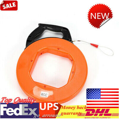 30m φ4.0mm Fish Tape Fiberglass Wire Cable Running Rod Duct Rodder Puller Tool