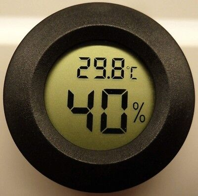 Digital Cigar-Humidor Hygrometer Thermometer Temperature Round Black #NP5
