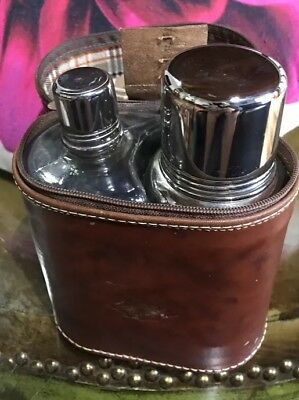 Vintage Vera Pelle Cocktail Shaker Travel Made Italy Leather Carrier Retro Set
