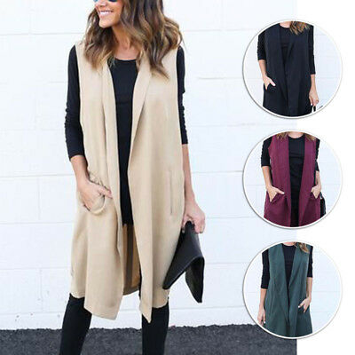 Women's Sleeveless Waterfall Cape Lapel Long Cardigan Jacket Coat Waistcoat Vest