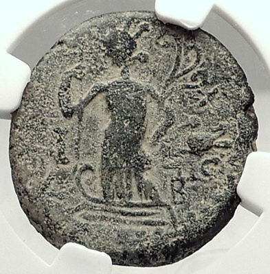 TRAJAN Authentic Ancient ASCALON in Judaea Rare Roman Coin NGC Certified i72857