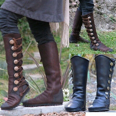 9b48129db076 Women Ladies Metal Button Decorate Knee Boots Leather Flat Riding Boots  Shoes