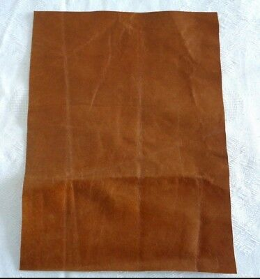 Brand New TAN BROWN 27x20cm,1 Piece GENUINE LEATHER-SCRAPS, OFF CUTS, FOR CRAFTS