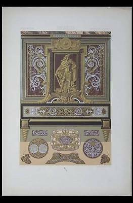 MARQUETERIE XVIIe, BOULLE  - LITHOGRAPHIE 1885 LOUIS XIV, ORNEMENTATION, RACINET