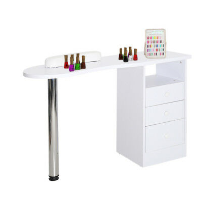 Beauty Salon White Wooden Manicure Technician Table Nail Station Desk + 3 Drawer