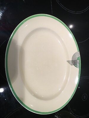 ROYAL DOULTON ART DECO TANGO Oval Serving Platter In Green. Stunning Deco Piece!