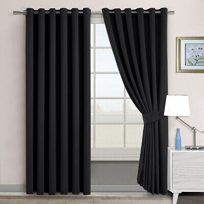 2PCS Thermal Insulated Blockout Eyelet Curtains Panels 3 Layers Pure Fabric Grey