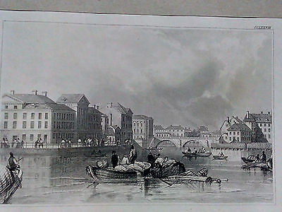 !!! Very Rare Antique Copperplate Engraving Stockholm North