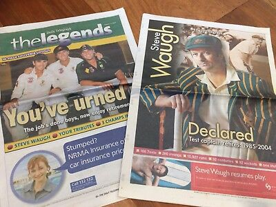 Cricket Fans!!! Special Edition Newspaper Liftouts!! Steve Waugh, Ashes