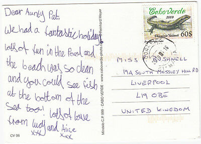 Q5080 Cape Verde postcard to UK, 2010; solo $0.60 lizard stamp; St. Maria CDS