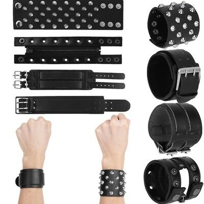 Hot Unisex Gothic Spike Studded Wristband Adjustable Bracelet Metal Rivet Buckle
