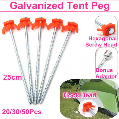 20/30pcs Screw In Ground Stake Camping 25cm Heavy Duty Tent Pegs Canopy Awning