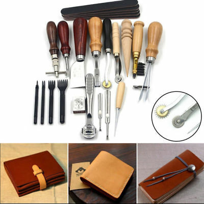 18tlg Leder Werkzeug Leather Craft Hand Sewing Stitching Groover Tool Kit Set DE