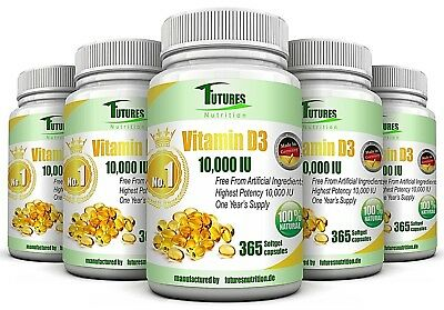 5 Bottles 1825 Units Vitamin D3 10000 IU Soft Gel capsules High Strength Health