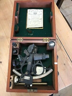 Antique Sextant Husun Henry Hughes & Son No 27640 Dated Certificate 1941 in Box
