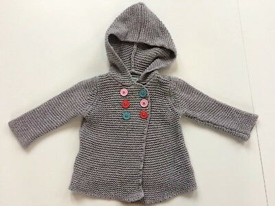 Baby Boden 6-12 Months Girls Grey Cardigan Hooded Cashmere Mix
