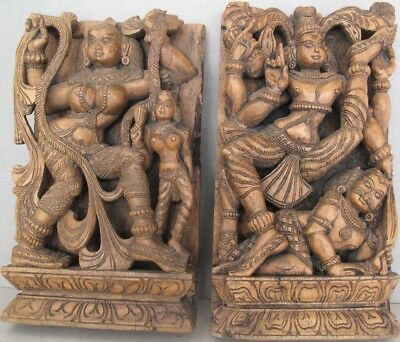 Antique Two Shiva Wooden Carved Panels