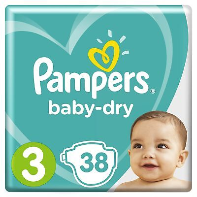 Pampers Baby-Dry Nappies, Size 3 Crawler (6kg-10kg), 38 Nappies, Up to 12 hours