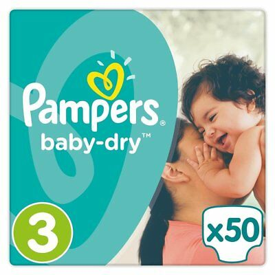 Pampers Baby-Dry Nappies, Size 3 Crawler (6kg-10kg), 50 Nappies, Up to 12 hours