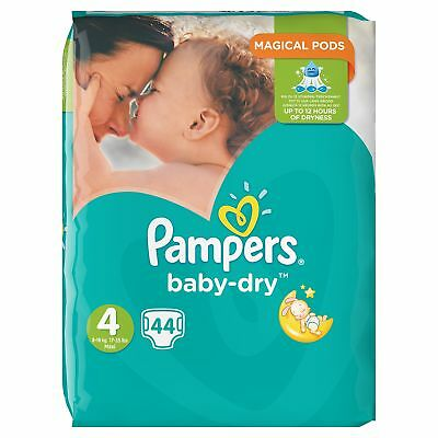 Pampers Baby-Dry Nappies, Size 4 Toddler (9kg-15kg), 44 Nappies, Up to 12 hours