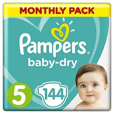 Pampers Baby-Dry Nappies Size 5 Walker (11kg-16kg), 144 Nappies, Monthly Pack