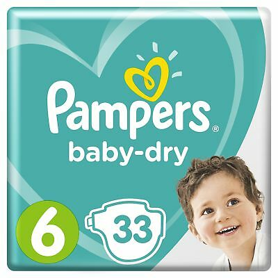 Pampers Baby-Dry Nappies, Size 6 Junior (13-18kg), 33 Nappies, Up to 12 hours