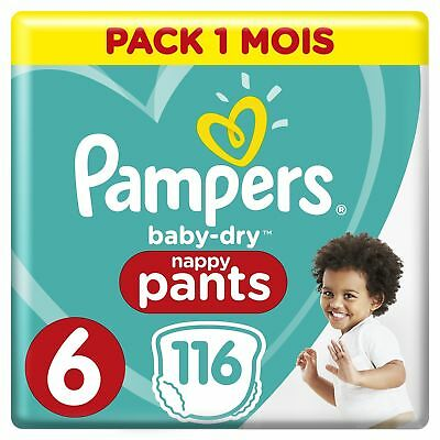 Pampers Baby-Dry Nappy Pants Size 6 Junior (15kg+), 116 Nappy Pants Monthly Pack