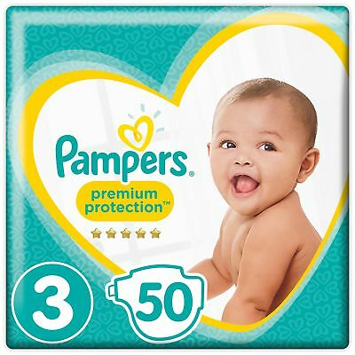 Pampers Premium Protection, Size 3 Crawler (6kg-10kg) 50 Nappies skin protection