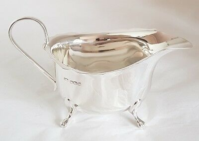 """Georgian style "" Sterling silver Sauce / Gravy  Boat.Sheffield 1931 By Viner's"