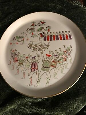 """1973 Shenango China 12 Days of Christmas 9.75"""" Plate- """"TENS LORDS A LEAPING"""""""